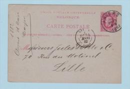 BELGIQUE    //  Entier Postal  //  De Anvers    //  Pour Lille      // 24 Mars 1882 - Cartoline [1871-09]