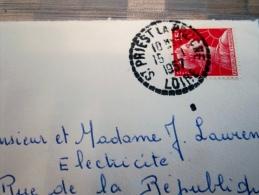 Cachet Manuel A Tireté St Priest La Pruche  Loire 1957 / Avec Correspondance - Marcophilie (Lettres)