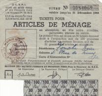TICKETS DE RATIONNEMENT ARTICLES DE MENAGE 1944 CACHET MAIRIE DE PARIS - Ohne Zuordnung