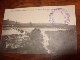 Ville De Lyon Vaillants Soldats Cachet FM 35 Infanterie Coloniale - Cartes Postales