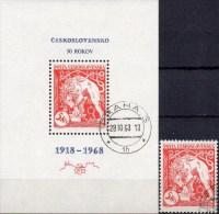 Jubiläum 50 Jahre CSR 1831+ Block 30 O 7€ Löwe Bricht Kette 1968 Hb Bloc History M/s Leu Sheets Bf CSSR Tschechoslowakei - Blocks & Kleinbögen