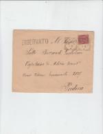 ITALIA  1893 - Letteraa Con Sassone 38 Da Padova Per Citta (riservata) - 1878-00 Umberto I