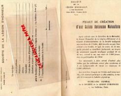 75- PARIS - SOCIETE DE LA LEGION D' HONNEUR - PROJET CREATION D' UNE CAISSE MUTUALISTE - RUE SOLFERINO  1924 - Old Paper