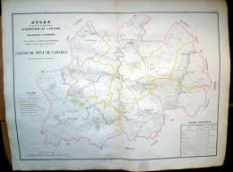 12 AVEYRON GRANDE CARTE 19° DU CANTON DU PONT DE CAMARES AVEC MONTAGNOL SYLVANES SAINT FELIX MELAGUES BRUSQUE  ETC.. - Geographical Maps