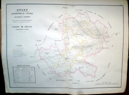 12 AVEYRON GRANDE CARTE 19° DU CANTON DE RIGNAC AVEC BELCASTEL ANGLARS ROUSSENAC BOURNAZEL  ETC... - Geographical Maps