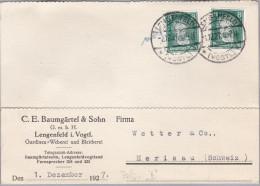 """DR 1927-12-01 LENGENFELD Perfin Beleg """"B""""  Baumgärtel & Sohn Auf 2x8Rpf. - Briefe U. Dokumente"""