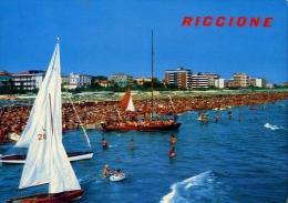 Riccione - Alberghi E Spiaggia Visti Dal Mare - Formato Grande Viaggiata - Rimini