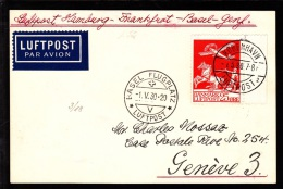 1930. Air Mail. 25 øre Red KØBENHAVN LUFTPOST 2 1.5.30. BASEL FLUGPLATZ LUFTPOST 1. V. 30. (Michel: 145) - JF103860 - Danemark