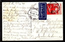 1930. Air Mail. 25 øre Red KØBENHAVN LUFTPOST 4 25.6.30. STOCKHOLM 26.6.30. (Michel: 145) - JF103863 - Danemark
