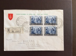 TRIESTE AMGFTT  1953 - MARTIRI BELFIORE - QUARTINA SU RACCOMANDATA VIAGGIATA A GORIZIA - TRIESTE SUCC. 4 - VIA PICCARDI - Storia Postale