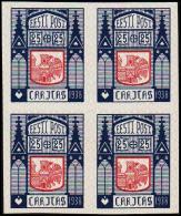 1938 CARITAS 25 + 25 S. Blue-carmine 4-Block. Imperforated Proof. Very Scarce. (Michel: 133 PROBE) - JF107621 - Estland