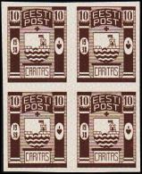 1938 CARITAS 10 + 10 S. Brown 4-Block. Imperforated Proof. Very Scarce. (Michel: 131 PROBE) - JF107620 - Estland