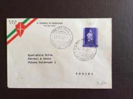 TRIESTE AMGFTT  1952 - SAVONAROLA SU FDC  VIAGGIATA A TORINO - Storia Postale
