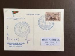 TRIESTE  AMG FTT - CARTOLINA IACHT CLUB ADRIATICO TRIESTE  CON MARCO POLO - ANNULLO CAMPIONATO D´ITALIA VELA  TRIESTE 19 - Storia Postale