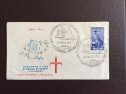 "TRIESTE  AMG FTT - ANNULLO SPECIALE ""REGATE CINQUANTENARIO YAXHT CLUB ADRIATICO 1903 - 1953 - - Storia Postale"