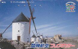 Télécarte Japon - ESPAGNE - MOULIN DON QUICHOTE - SPAIN MILL Japan Phonecard - Site HANSHIN AIRLINES 56 - Paisajes