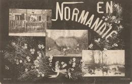 CPA - EN NORMANDIE - MULTIVUES ( MARCHE AUX PETITS COCHONS - COUR DE FERME - BATTERIE DE SARRASIN ) . - Basse-Normandie