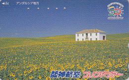 Télécarte Japon - ESPAGNE - ANDALOUSIE / TOURNESOL - SPAIN ANDALUSIA Japan Phonecard - Site HANSHIN AIRLINES 66 - Paysages