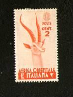 AFRICA ORIENTALE  ITALIANA :  Cent. 2  Nuovo Con TL  Emesso Il  7.02.1938  Sassone N° 1 - Italienisch Ost-Afrika