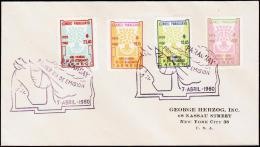 1960. WORLD REFUGEE YEAR AIR MAIL 4 + 12,45 + 18,15 + 23,40. FDC 7 ABRIL 1960.  (Michel: 846-849) - JF108830 - Briefmarken