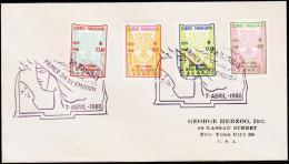 1960. WORLD REFUGEE YEAR AIR MAIL 4 + 12,45 + 18,15 + 23,40. FDC 7 ABRIL 1960.  (Michel: 846-849) - JF108829 - Briefmarken