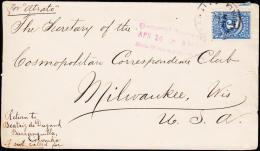 1908. 5 C. Por Atrato To Milwaukee, Wis. USA. General Delivery APR 14 8 AM MILWAUKEE, WIS. (Michel: 223) - JF108820 - Briefmarken