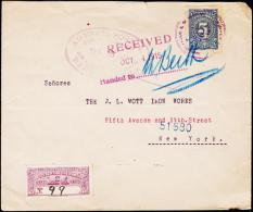 1915. 5 C. AGENCIA POSTAL REP. DE COLOMBIA RECOMENDADOR BARRANQILLA SET 16 1915. NEW YO... (Michel: 212) - JF108821 - Briefmarken