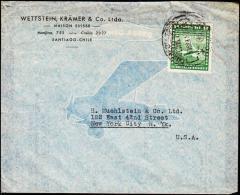 1935. AIR MAIL 8 PESOS. SANTIAGO - NEW YORK.  (Michel: 214) - JF108898 - Briefmarken