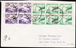 1956. 6X 10 P + 4X 5 P. CORREO AEREO SANTIAGO 13.JUL.56. (Michel: 513) - JF108901 - Briefmarken