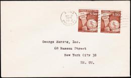 1958. 2X 50 PESOS AIR MAIL. SANTIAGO 24. DIC. 1958. (Michel: 542) - JF108910 - Briefmarken