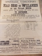 Affiche Openbare Verkoping Zaai Hooi & Weilanden Te Ichtegem - Notaris Dekeyser 1930 - Plakate