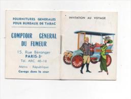 CALENDRIER DE POCHE -- INVITATION AU VOYAGE - COMPTOIR GENERAL DU FUMEUR - 1964 - Calendriers