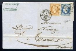 Lettre De Marseille Pour Le BFE De Tunis 1862 - Marcophilie (Lettres)