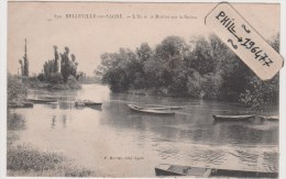 69 Belleville Sur Saône - Cpa / Place L´Ile Et Le Mottiot Sur La Saône. - Belleville Sur Saone