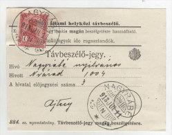 Ungarn Michel No. 156 gestempelt Nagyrabe auf Telefon Geb�hren Zettel