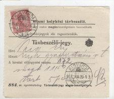 Ungarn Michel No. 156 gestempelt Kisvarda auf Telefon Geb�hren Zettel