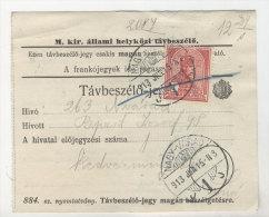 Ungarn Michel No. 156 gestempelt Nagy Varad auf Telefon Geb�hren Zettel