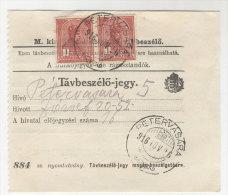 Ungarn Michel No. 156 gestempelt Petervasara auf Telefon Geb�hren Zettel MeF