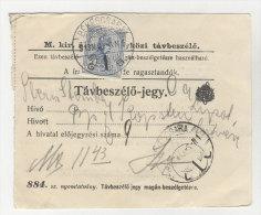 Ungarn Michel No. 157 gestempelt Bekescsaba auf Telefon Geb�hren Zettel EF