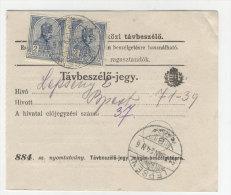 Ungarn Michel No. 157 gestempelt Lepseny auf Telefon Geb�hren Zettel MeF