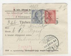 Ungarn Michel No. 156 - 157 gestempelt Nagy Varad auf Telefon Geb�hren Zettel