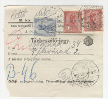 Ungarn Michel No. 156 - 157 gestempelt Bonyhad auf Telefon Geb�hren Zettel