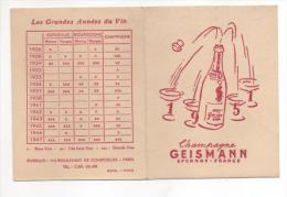 CALENDRIER DE POCHE -- EPERNAY  CHAMPAGNE GEISMANN 1951 - Kalenders