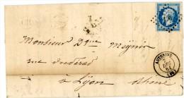HAUTE GARONNE LAC 1861 AUTERIVE PC 190 ET TYPE 15 FRAPPE SUPERBE INDICE 6= 25 EUROS - Marcophilie (Lettres)