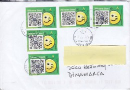 Spain LA SELVA DEL CAMP 2015 Cover Letra To BRØNDBY STRAND Denmark 5x Smiling Stamps - 1931-Heute: 2. Rep. - ... Juan Carlos I