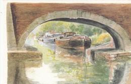"""Aquarelle Originale D. Lebeau """" Péniche Sur Le Canal Du Midi """" - Péniches"""