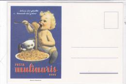 """CARD PUBBLICITARIA PASTA """"MULINARIS"""" UDINE  DISEGNO  BOCCASILE NON FIRMATA BIMBO MANGIA SPAGHETTI    -FG-N-2-0882- 22735 - Pubblicitari"""
