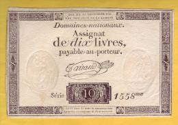 ASSIGNAT De 10 Livres. 16 Décembre 1791 - - Assignats & Mandats Territoriaux