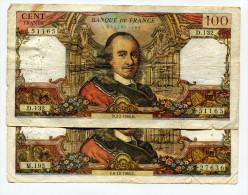 """P France 100 Francs """""""" CORNEILLE """""""" 1966  - 2 Dates Différentes - 1962-1997 ''Francs''"""
