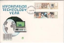 Great Britain FDC Scott #1000-#1001 Set Of 2 Information Technology Year Cancel: Salisbury Stuart Cover - FDC